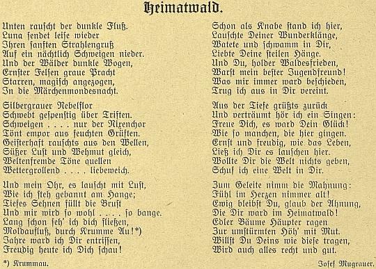 """Originál jeho básně v časopise """"Waldheimat"""""""
