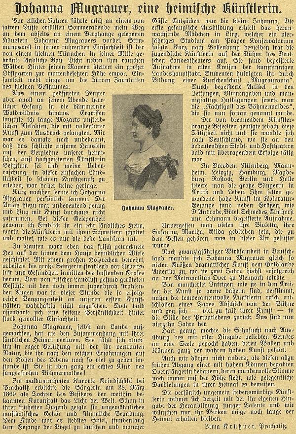 Originál článku Irmy Krütznerové v časopise Waldheimat