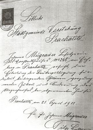 Žádost o stavební povolení na přístavbu domu z roku 1911