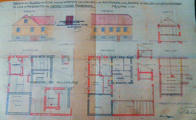 Plán domu v Černohorské ulici čp. 259, kde žila u svého bratra od roku 1928 až do své smrti - dům dnes již nestojí