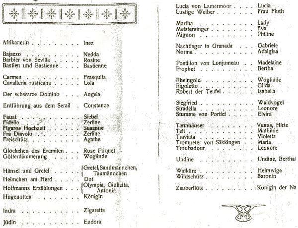 Seznam jejích operních rolí