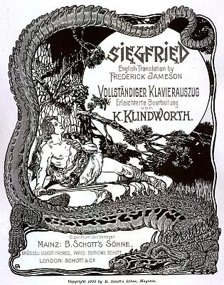 Obálka (1900) klavírního výtahu z Wagnerova Siegfrieda s malým zpěváčkem na borové větvi, jemuž kdysi ona propůjčila svůj hlas