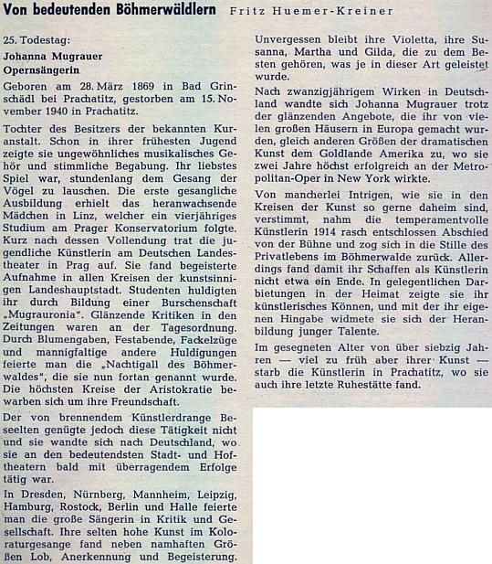 Autorem jejího medailonu na stránkách krajanského měsíčníku se stal Fritz Huemer-Kreiner