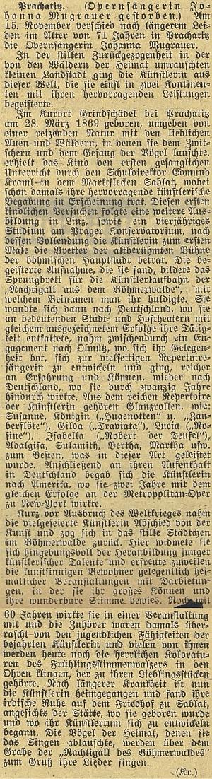 Nekrolog na stránkách českobudějovického německého listu