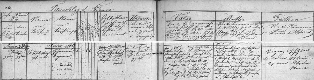 Záznam o narození Johanny Mugrauerové Franzi Mugrauerovi, majiteli lázní v Gründschädl, a Augustě Böhmové vzáblatské křestní matrice