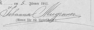 Její podpis na archu sčítání lidu z roku 1921