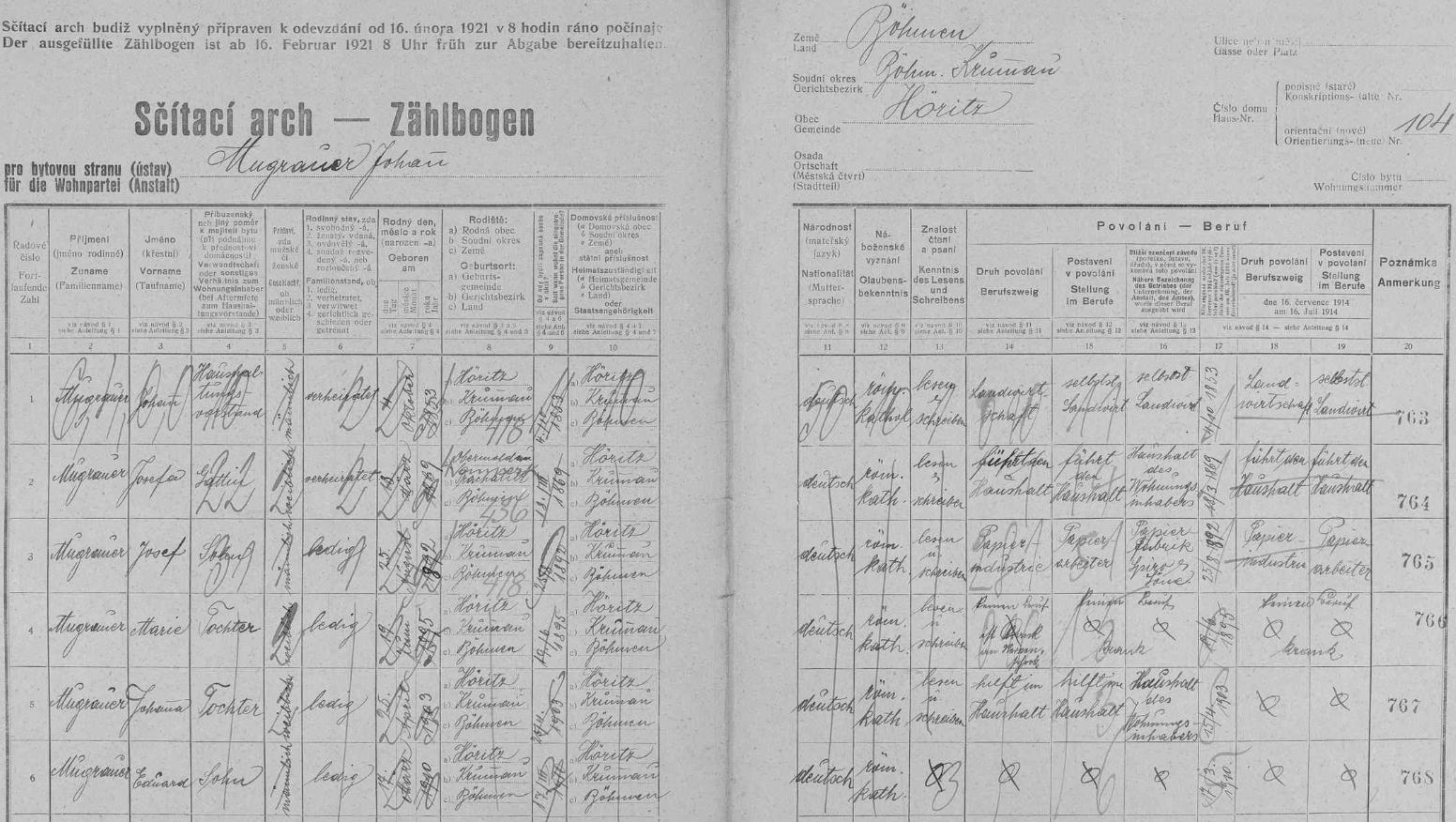 """Arch ze sčítání lidu v roce 1921 pro hořický dům čp. 104 zachycuje rodinu jeho děda Johanna Mugrauera (*4. října 1853 v Hořicích na Šumavě) s dědovou chotí Josefou (*18. března 1869 v Horní Vltavici) a jejich dětmi Josefem (*1892), Marií (*1895), Johannou (*1903) a Eduardem (*1910), z nichž nejstarší syn Josef, otec """"našeho"""" Johanna, pracoval už tehdy jako papírenský dělník u firmy Spiro, nebyl však dosud ženat"""