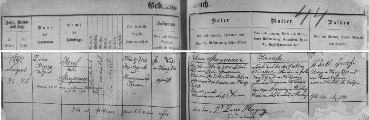 Záznam hořické křestní matriky o narození otcově s pozdějším přípisem o jeho svatbě