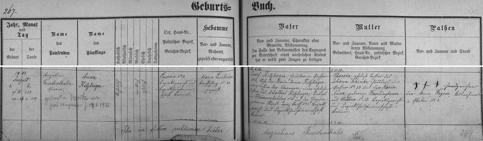 Záznam křestní matriky farní obce Světlík o narození jeho matky, opět s pozdějším přípisem o její svatbě