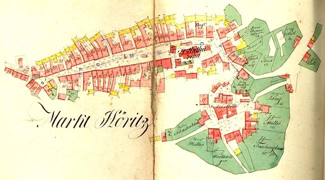 Indikační skica stabilního katastru zachycuje městečko Hořice ve dvacátých letech 19. století