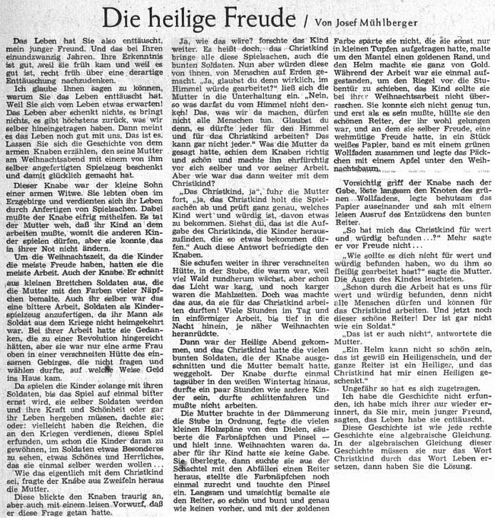 Jeho útěšná vánoční povídka, obracející se k mladým lidem, zklamaným životem, zdobila roku 1952 sváteční číslo Sudetendeutsche Zeitung