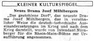 """Zpráva o premiéře jeho hry """"Uloupená ves"""" na stránkách Sudetendeutsche Zeitung zledna 1955"""