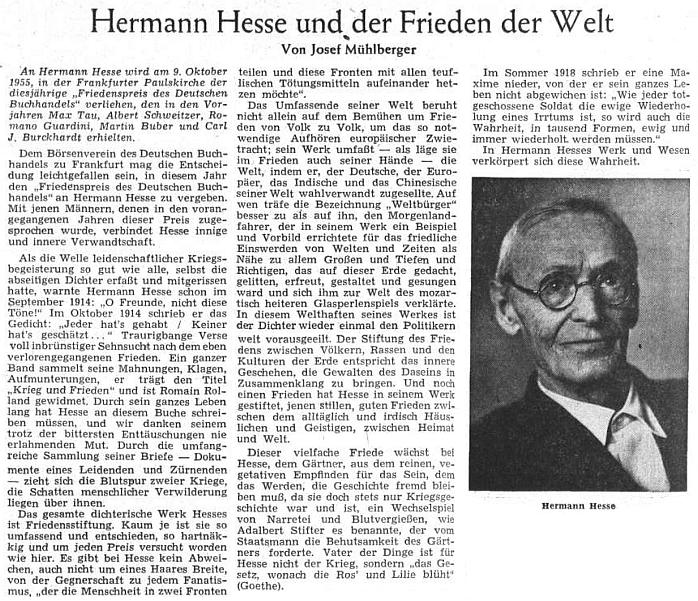 V článku, uveřejněném u příležitosti udělení Mírové ceny německého knižního obchodu Hermannu Hesseovi na stránkách Sudetendeutsche Zeitung, připomíná autorův protiválečný postoj, spojující ho s Adalbertem Stifterem