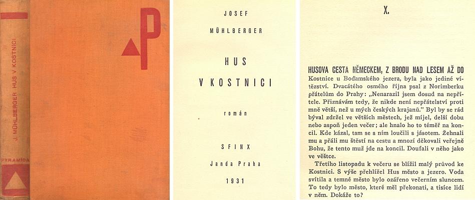 """Vazba (1931), titulní list a začátek X. kapitoly českého překladu jeho románu o Husovi v nakladatelství Sfinx - Bohumil Janda, zde i se """"šumavskou"""" scenerií """"Brodu nad Lesem"""" (tj. Furth im Walde)"""