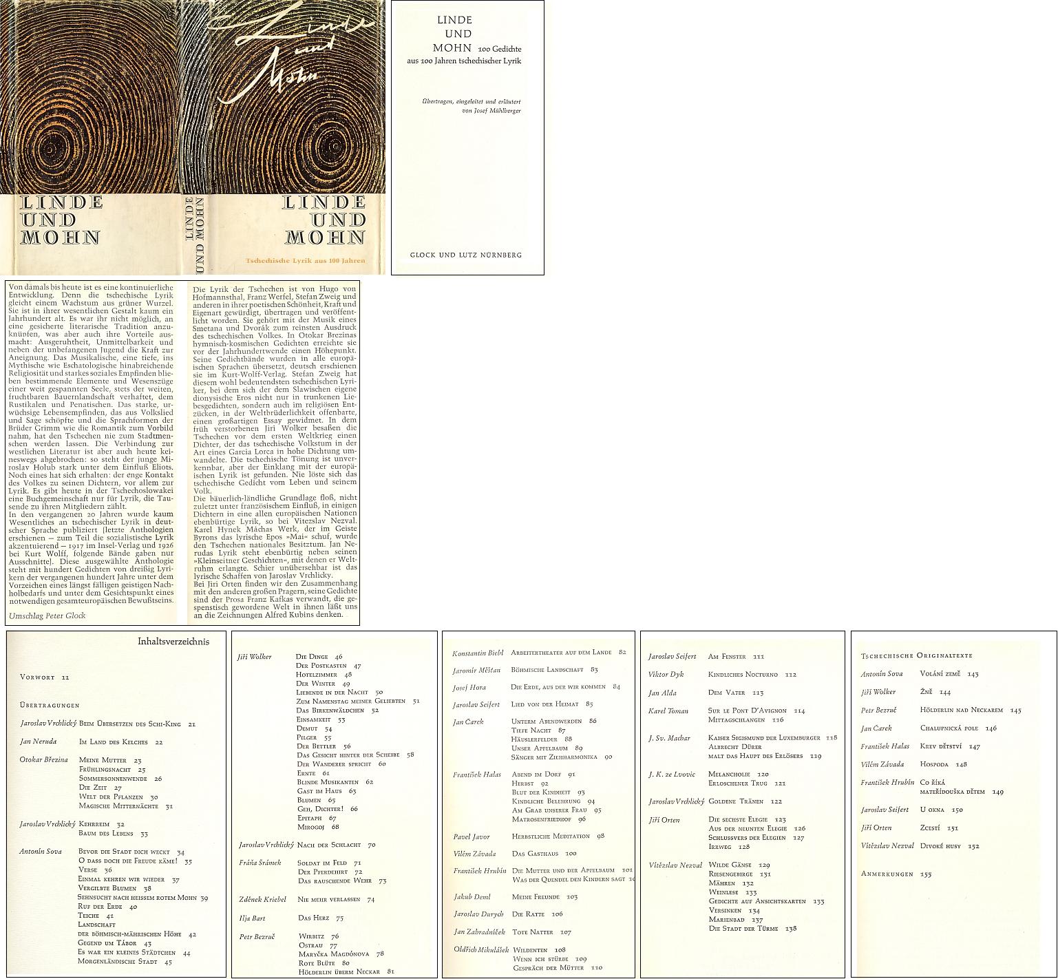 """Obálka (1964), titulní list a obsah souboru jeho překladů stovky básní ze """"století"""" české poezie vydaného v Norimberku nakladatelstvím Glock und Lutz"""