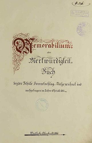 Titulní list opisu hodňovské školní kroniky