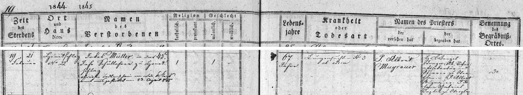 Záznam o jeho úmrtí v hodňovské knize zemřelých