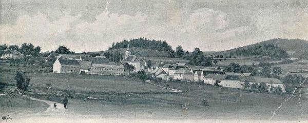 Hodňov na jedné z prvních pohlednic Josefa Seidela