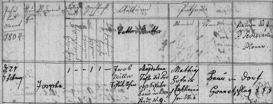 Záznam hodňovské křestní matriky o narození dcery Josephy