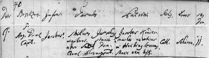 Záznam o jeho narození v želnavské křestní matrice