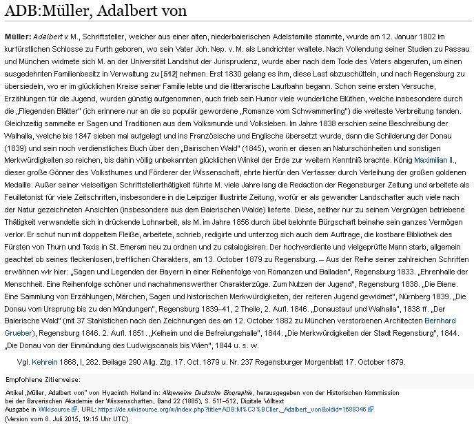 Jeho podrobné heslo v německé encyklopedii z roku 1885