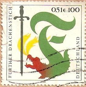 """""""Furthský"""" souboj s drakem na německé poštovní známce"""