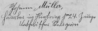 Otcův podpis v želnavské oddací matrice (byl písařem nápisů na hroby)