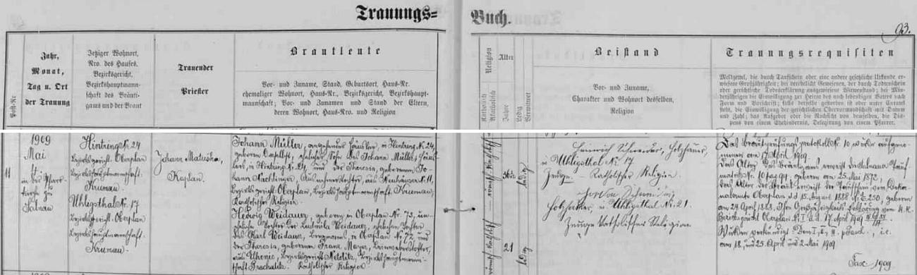 Záznam o první svatbě jeho otce v želnavské oddací matrice