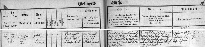 Záznam želnavské matriky o narození Jakoba Müllera