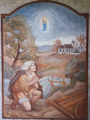 Obnovená boží muka s detailem obrazu klečícího Alberta Müllera, který namalovala Vladimíra Fridrichová Kunešová