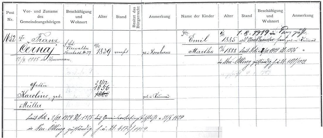"""Dokument o přijetí rodiny Černajovy """"do domovského svazku města Krumlova"""" v roce 1904"""