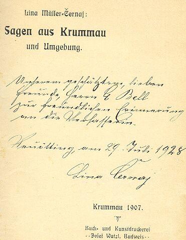 Titulní list s věnováním a podpisem