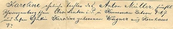 S dcerou Marthou v Nové Včelnici a  údaje o Lině (Karolině) Müller-Černajové z dceřina rodného listu