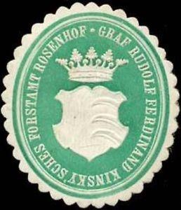 Pečetní známka lesního úřadu hraběte Rudolfa Ferdinanda Kinskyho vRosenhofu