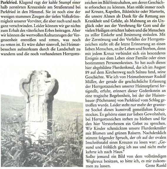 I článek Grete Ranklové ze stránek krajanského měsíčníku připomíná se snímkem žulového podstavce kříže při cestě u Parkfriedu (dnes Bělá) Müllerovu práci o církevních památkách želnavské farnosti