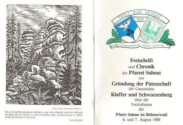 Obálka (1988) jeho publikace k převzetí patronátu rakouských obcí Klaffer a Schwarzenberg nad vyhnanci z farnosti Želnava...