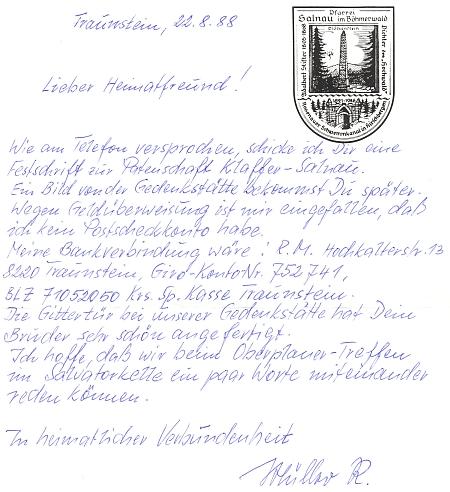 ... a dopis krajanovi, provázející její zásilku