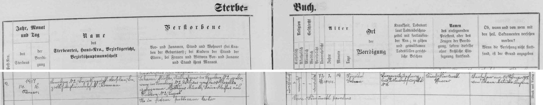 Více než dva roky před jeho narozením ve Slunečné čp. 2 tu podle úmrtní matriky farní obce Želnava skonal na zápal plic výminkář Johann Müller, narozený rovněž na této usedlosti čp. 2, jinak vdovec po Rosalii, roz. Mündlové, dceři Matthäuse Mündla z Pihlova čp. 2 - nebožtík Johann Müller byl pochován na želnavském hřbitově
