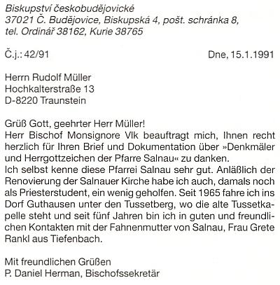 Dopis Daniela Hermana, tehdy tajemníka českobudějovického biskupa Miloslava Vlka, s poděkováním Rudolfu Müllerovi za jeho dokumentaci církevních památek ve farnosti Želnava