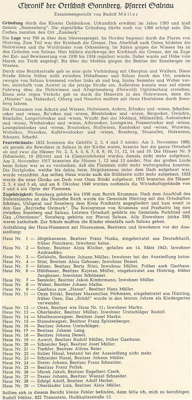 Záhlaví jím zveřejněné kroniky obce Žumberk (dnes Slunečná), kde na závěr úvodní části prosí o upozornění na chyby s uvedením své adresy