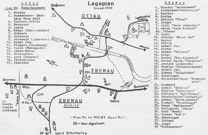 Plánek Zátoně a Zátoňských Dvorů se jmény vlastníků v roce 1945, jak ho nakreslil více než padesát letech po odsunu Herbert Erbs