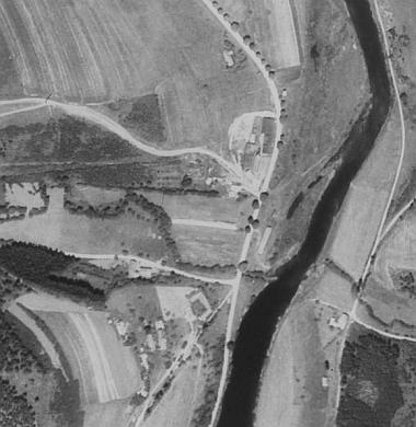 Rodná Branná na leteckých snímcích z let 1952 a 2008