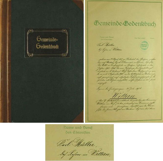 Vazba a titulní list kroniky, kterou ve Větřní založil