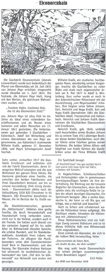 Dva jeho články ze starých ročníků Böhmerwäldler Heimatbrief, ten o Českých Žlebech ze srpna roku 1949 aten o Lenoře z listopadu téhož roku
