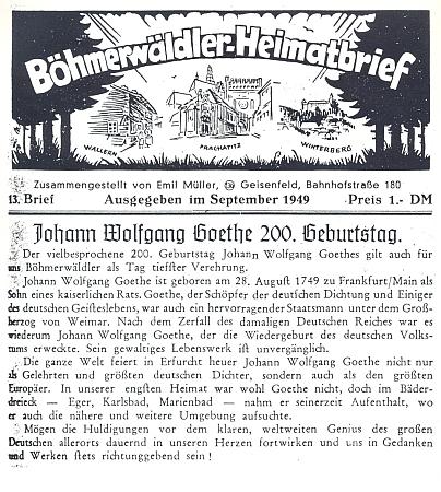 V září 1949 vyšlo 13. číslo BHB s titulním článkem ke 200.jubileu narození Goethova