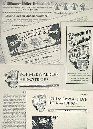 Záhlaví prvního a některých dalších čísel BHB zpočátečních let existence pod Müllerovým vedením