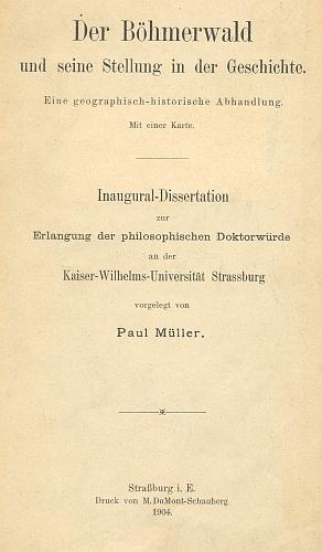 Titulní strana (1904) jeho štrasburské disertace