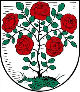 Znak jeho rodného města Annaburg s růžovým keřem