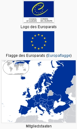 Logo a vlajka Rady Evropy s mapkou jejích členských států