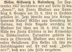 Jeho svědectví o smrti frontového kamaráda v Dalmácii za první světové války, jedné z prvých jejích obětí